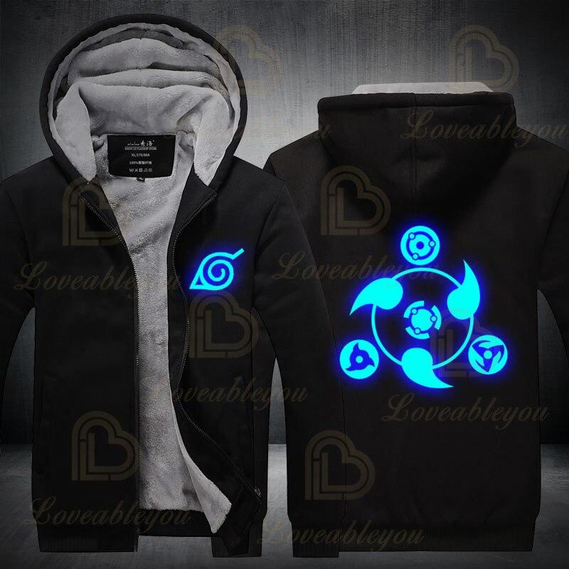 Harajuku Luminescent Sweatshirt Hoodie Men 2020 Winter Japan Night Grow Hoodies Warm Jacket Coat Hoodies