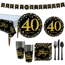 40th Birthday Party Decorations Anniversary Disposable Tableware Set Black Gold Adult Decor Supp
