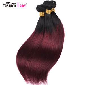Image 5 - FASHION LADY Pre Colored Indian Hair Ombre Human Hair Bundles T1B/99J Straight Hair Weave 3 Bundles Per Pack Non Remy