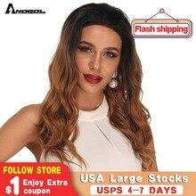 Anogol negro Ombre marrón largo cuerpo ondulado peluca sintética peluca con malla frontal para mujeres americanas