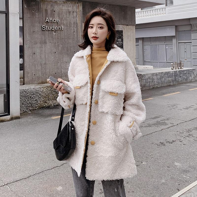 Real Fur Coat 100% Wool Jacket Korean Sheep Shearling Autumn Winter Coat Women Clothes 2020 Women Tops Abrigo Mujer B19F36063