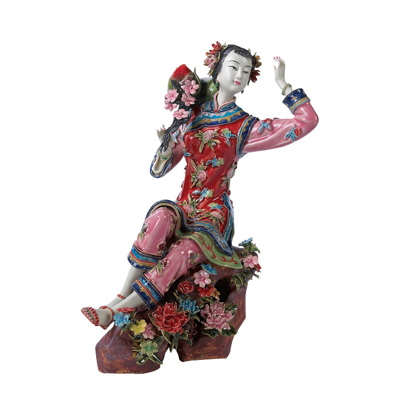Chinese Shiwan Antique Lady Ceramic Statue Pure Manual Figure Collectible Porcelain Figurine Painted Vintage Home Decor X3269