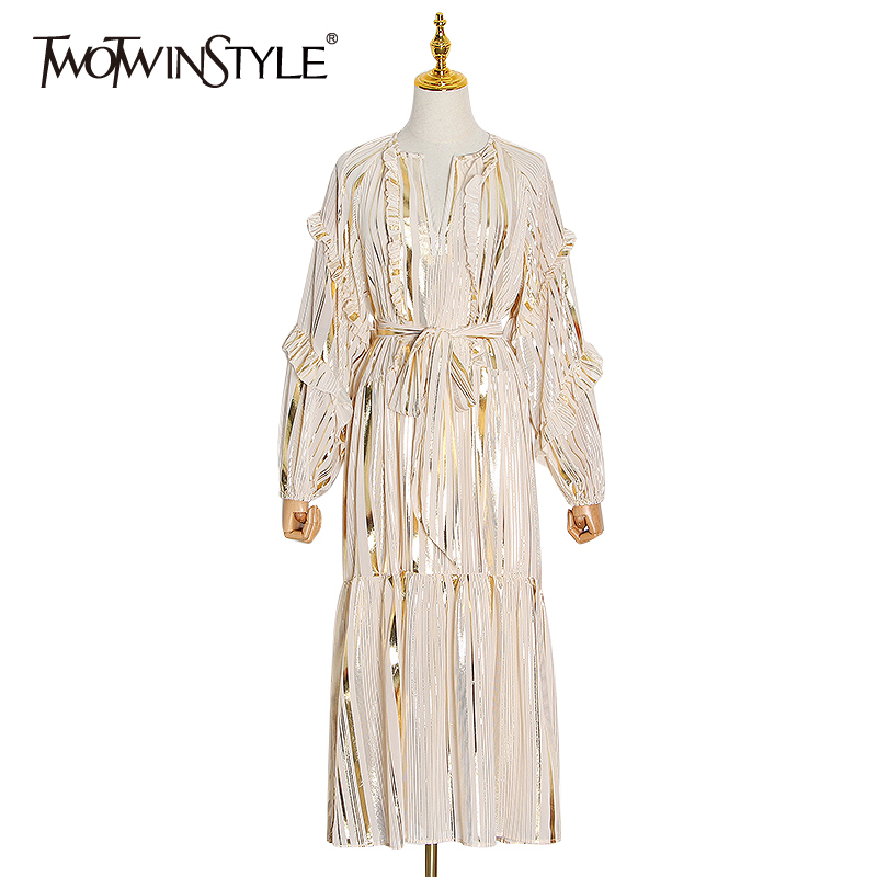 TWOTWINSTYLE Vintage Striped Hit Color Dress Women O Neck Lantern Sleeve High Waist Lace Up Bowknot Midi Dresses Female 2020 New