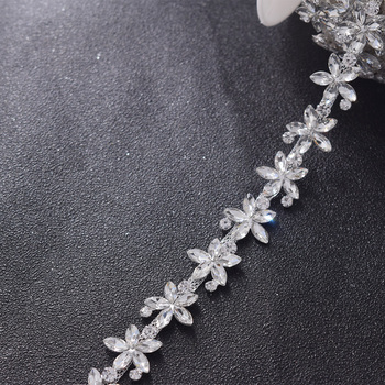 wholesale 10yards/lot shiny glass rhinestones flower crystal trimming for wedding decorations bride jewelry accessories sewing