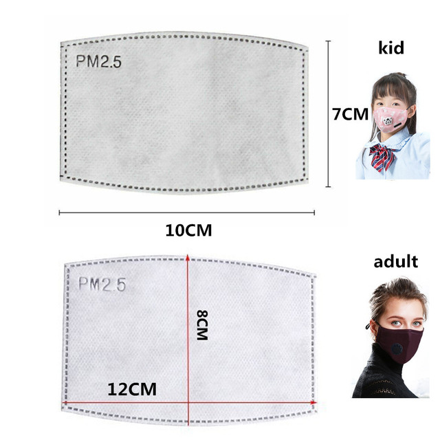 10/20/50/100pcs/lot For Kids/Adult 5 Layers PM2.5 Filter paper Anti Haze mouth Mask Non-woven Activated Carbon Filter paper 3