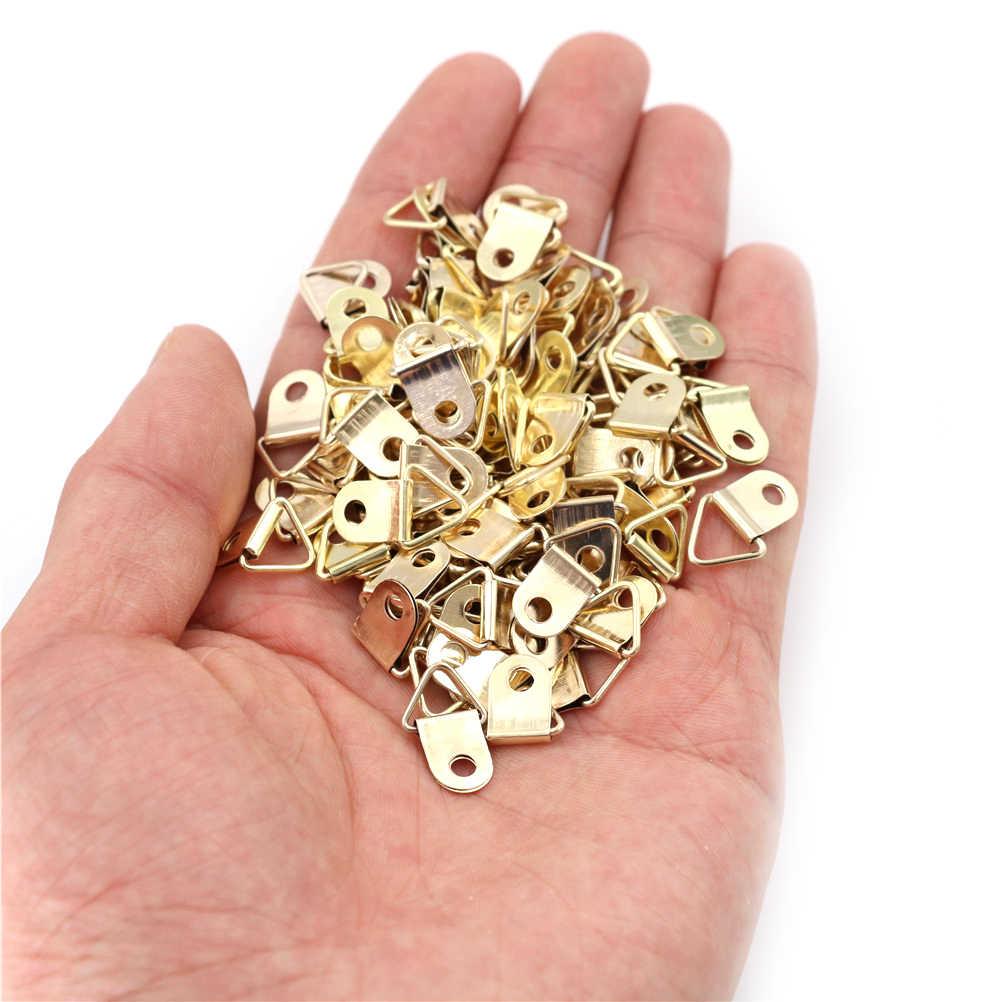 100 Stuks Gouden Driehoek D-Ring Opknoping Foto Olieverf Spiegel Frame Haken Hangers Groothandel