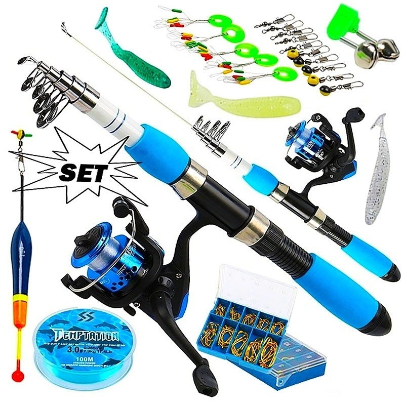 Sougayilang Portable Telescopic Fishing Travel Combo 1.0-1.8m Fishing Rod And Spinning Blue Reel Baits Hooks Line Full Set