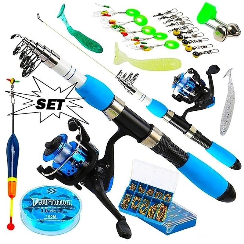 Sougayilang Portable Telescopic Fishing Travel Combo 1.0-1.8m Fishing Rod And Spinning Blue Reel Baits Hooks Line Full Set