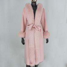 CXFS 2020 nowy różowy X długi kaszmirowy wełny mieszanki płaszcz z prawdziwego futra pas kurtka zimowa kobiety naturalne futro z lisa kołnierz moda uliczna z kapturem tanie tanio CASHMERE Z wełny X długości real fur coat REGULAR Pełna Szczupła 100 wool coat Na co dzień Stałe
