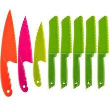 Criança conjunto de faca de cozinha de plástico seguro das crianças cozinhar chef facas de náilon para frutas pão bolo salada faca de alface