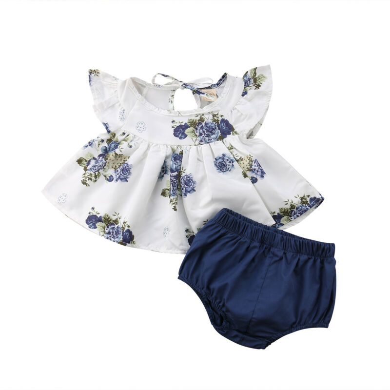 New Summer Floral Round Neck Tops Harem Shorts Girl Casual Cotton Cute 2PCs Newborn Baby Girls Clothes Set Infant Clothing