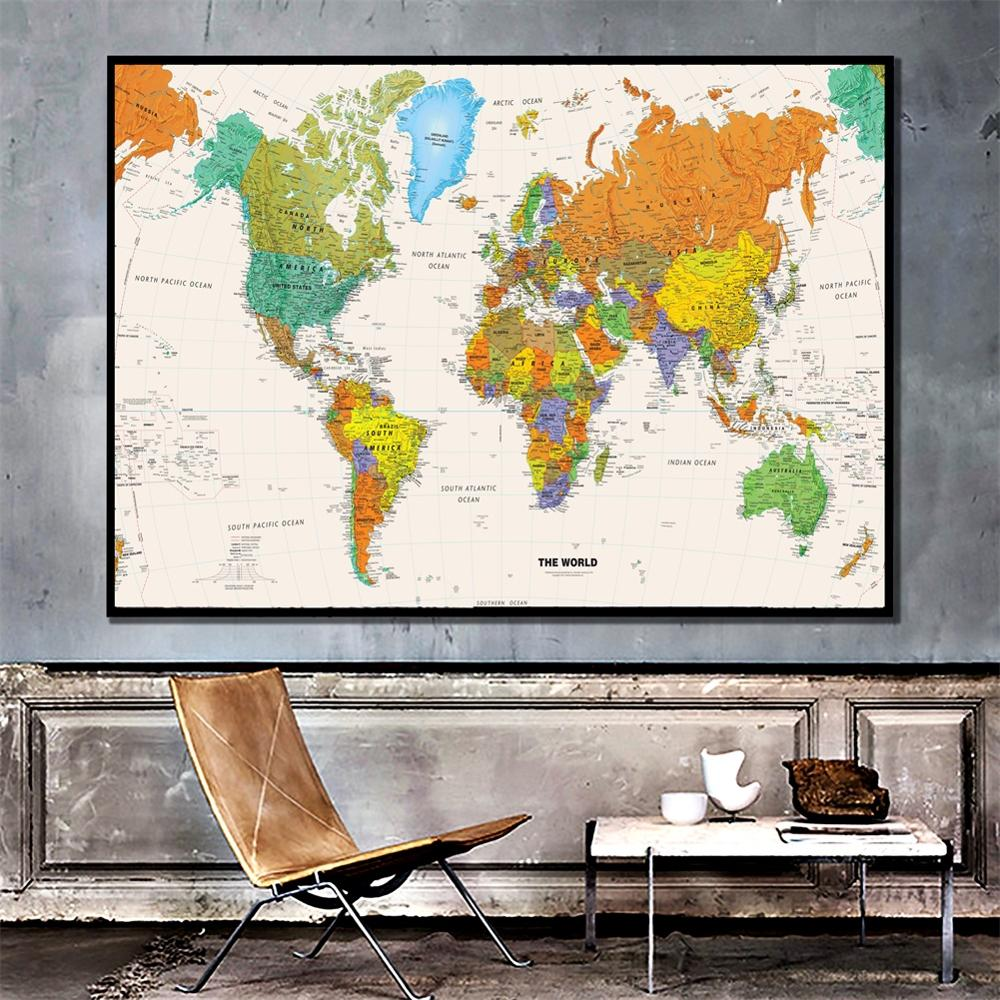 A2 Size The World Physical Map HD Printed Fine Canvas Painting Map Home Art Crafts Office Living Room Wall Decor Map