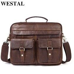 WESTAL портфель мужской мужские кожаные сумки мужская натуральная кожа кожаная сумка для ноутбука сумка деловая мужская сумка под документы м...