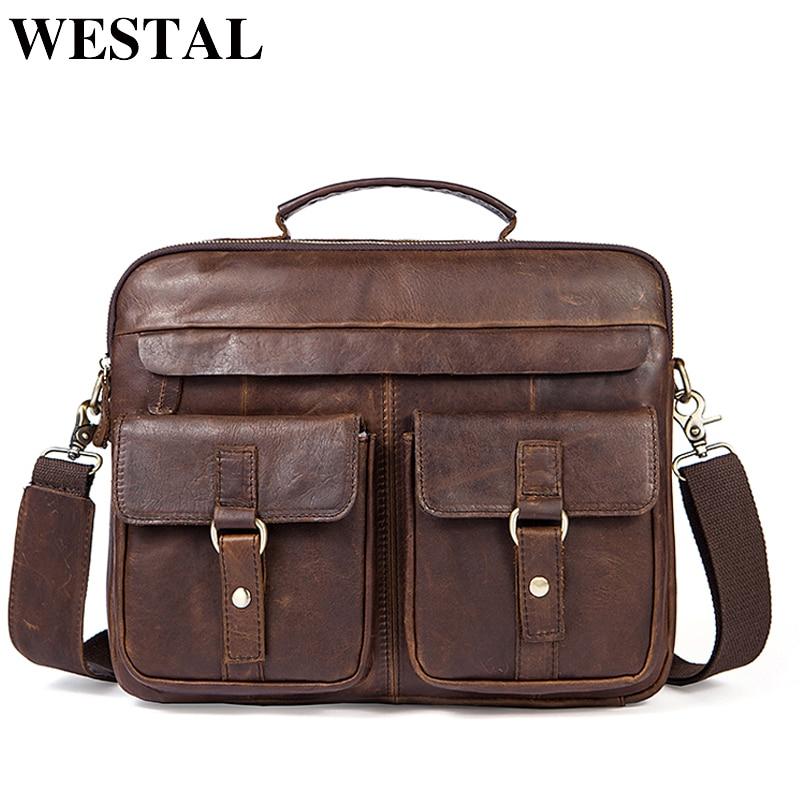 WESTAL Men's Bags Genuine Leather Men's Shoulder Bags Messenger Bag Men Leather Laptop Bag Vintage Man Handbags Totes 8001