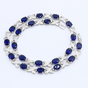 Image 3 - Blue Green Purple  Zircon Silver Color Necklace for Women Wedding  Jewelry Free Gift Box
