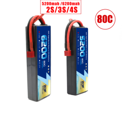 ZDF Lipo Battery 7.4V 11.1V 14.8V 5200mah 6200mah Hardcase 2S 3S 4S 80C 160C 1/10 1/8 Scale For Traxxas Slash 4x4 RC Cars Boat