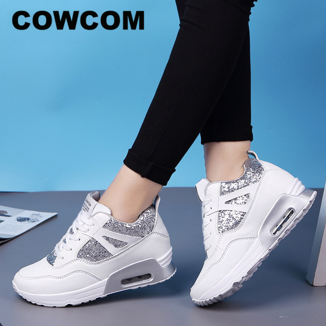 COWCOM Primavera delle Donne Elevati Scarpe Cuscino Daria Runningg Scarpe Traspirante paillettes spessa suola di sport scarpe casual