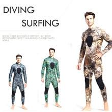3MM süper elastik neopren dalgıç kıyafeti erkek Wetsuits uzun parçası yapışık kamuflaj soğuk sıcak dalgıç kıyafeti yüzme spor giyim
