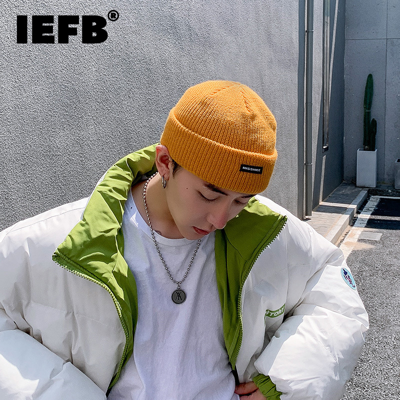 IEFB Fashion Chic Unisex Letter Paste Cloth Hat For Men Women New Keep Warm Knitted Hats Melon Skin Cap Tide Autumn Winter 2021