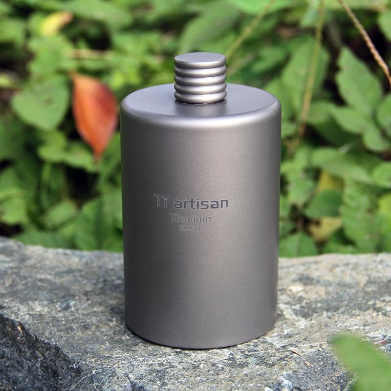 Tiartisan Kitchen Hip Flask Titanium Round Mini 200ml and 175ml Camping Wine Bottle Portable Whisky Alcohol Drink