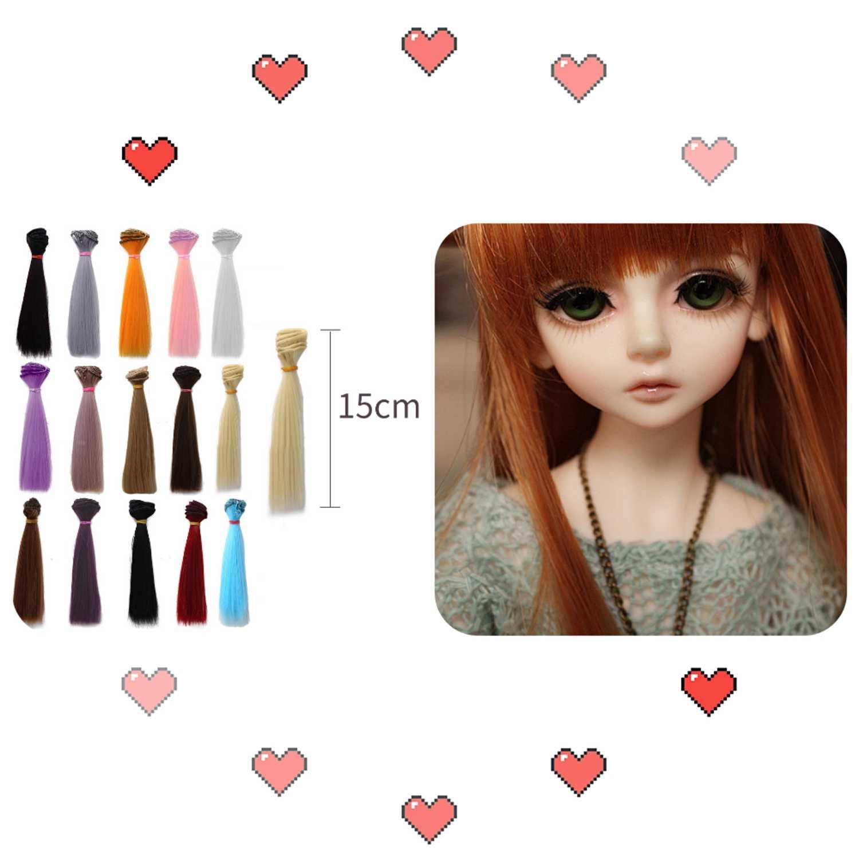 Pelo de muñeca 15*100 cm, accesorios para muñecas, peluca recta de fibra sintética, pelo BJD SD para pelucas de muñecas, múltiples juguetes para niñas DIY, pelo para juguetes