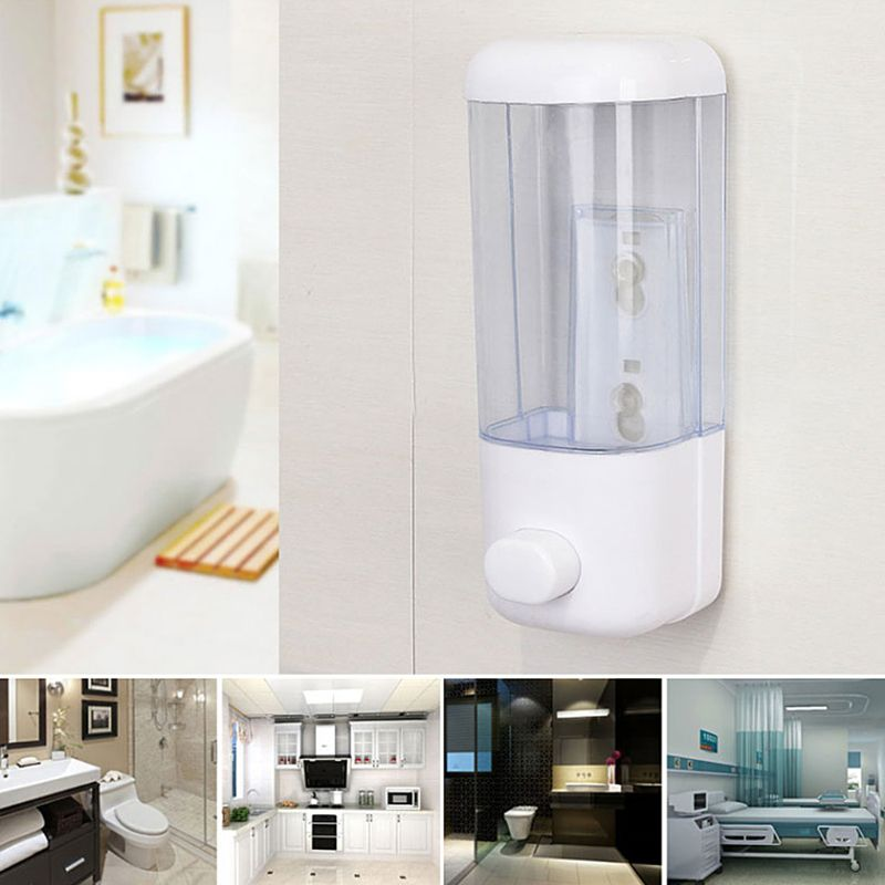 500ml Bathroom Soap Dispenser Wall Mounted Self-Adhesive Shampoo Container Hand Press Clear Liquid Lotion Single Slot Storage