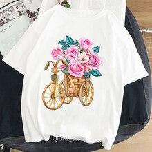 Vintage camiseta Mujer Bonita flor loveheart bicicleta impresa camiseta mujer blanco harajuku kawaii ropa 90s streetwear camisetas