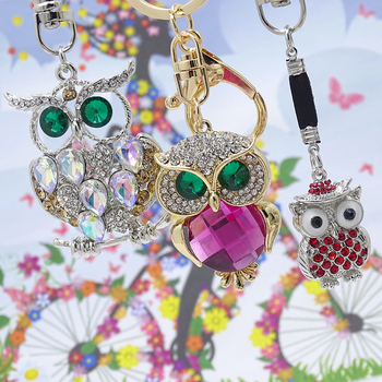 XDPQQ Jewelry Keychain Owl Keyring Stereo Crystal Jewelry Gift Wallet Car Pendant Men and women Joker Pendant Factory Direct