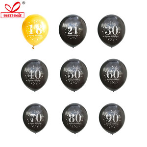 12inch Gold Black Latex Balloons 16 18 21 30 40 50 60 70 80 90 Years Birthday Decorations Anniversaire Wedding Party Supplies