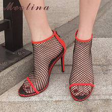 Meotina Women Ankle Boots Shoes Cutouts Super High Heel Boots Pointed Toe Stiletto Heels Zip Short Boots Female Autumn Black Red krazing pot high street fashion bling diamond crystal mesh ankle summer boots high heels stiletto gorgeous pointed toe shoes l89