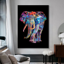 Abstract Animal gray and colorfull Elephant Poster Wall Art Canvas Painting Print Pictures for Living Room Home Interior Decor