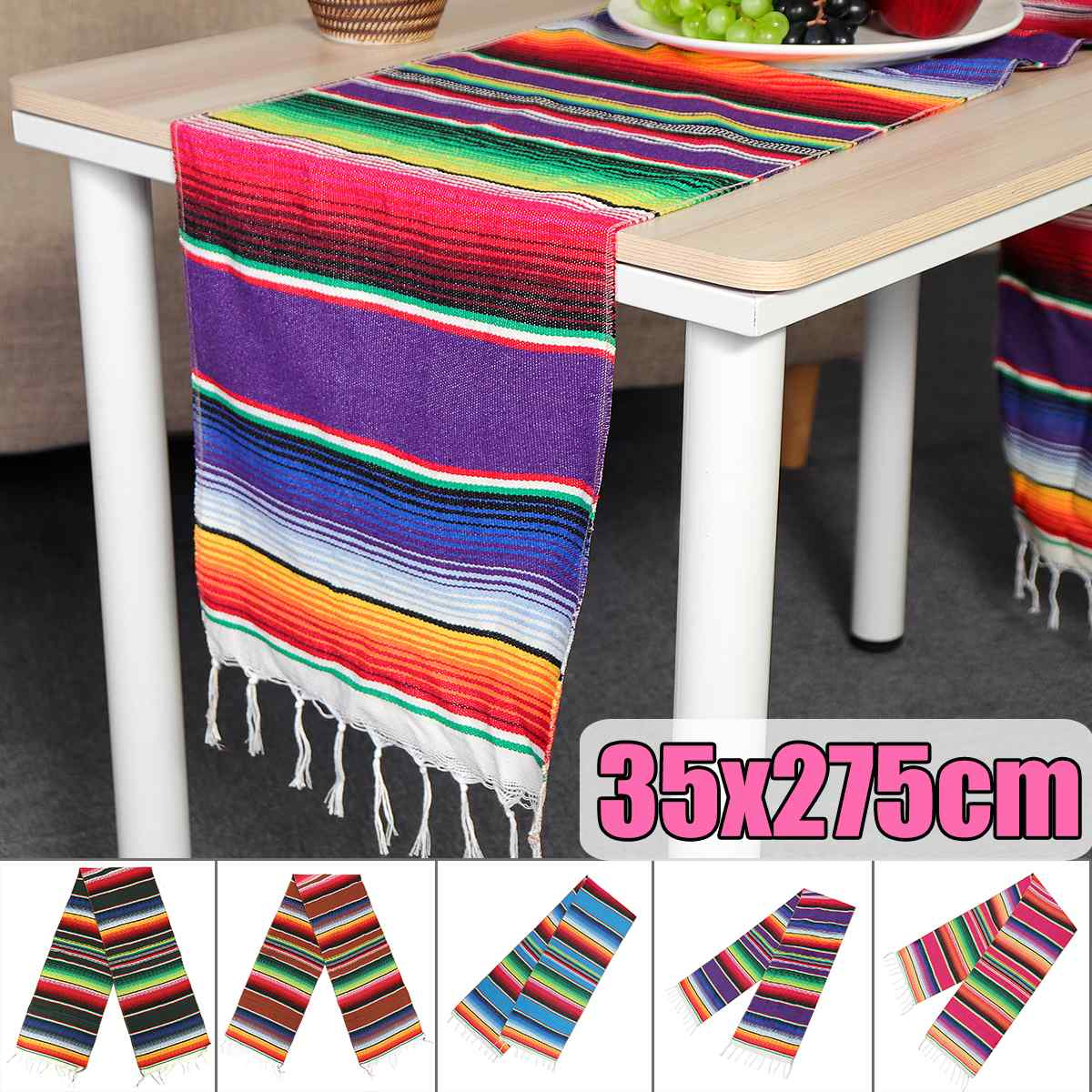 5 Color Mexican Party Serape Cotton Tablecloth Stripe Table Runner Rainbow Wedding Chritmas Table Cloth Flag Home Decor