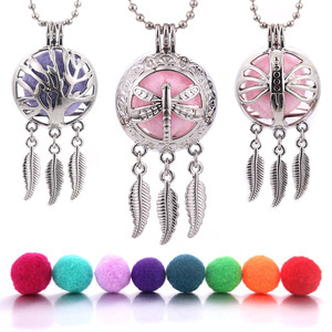 Aroma Diffuser Dreamcatcher Feather Open Lockets Pendant Perfume Essential Oil Aromatherapy Locket Necklace Woman Jewelry(China)