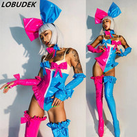 Halloween Bar Club Party Women Sexy Cosplay Costume Pink Blue Splicing Bodysuit Leggings Gloves Headdress Outfits Role Show Wear