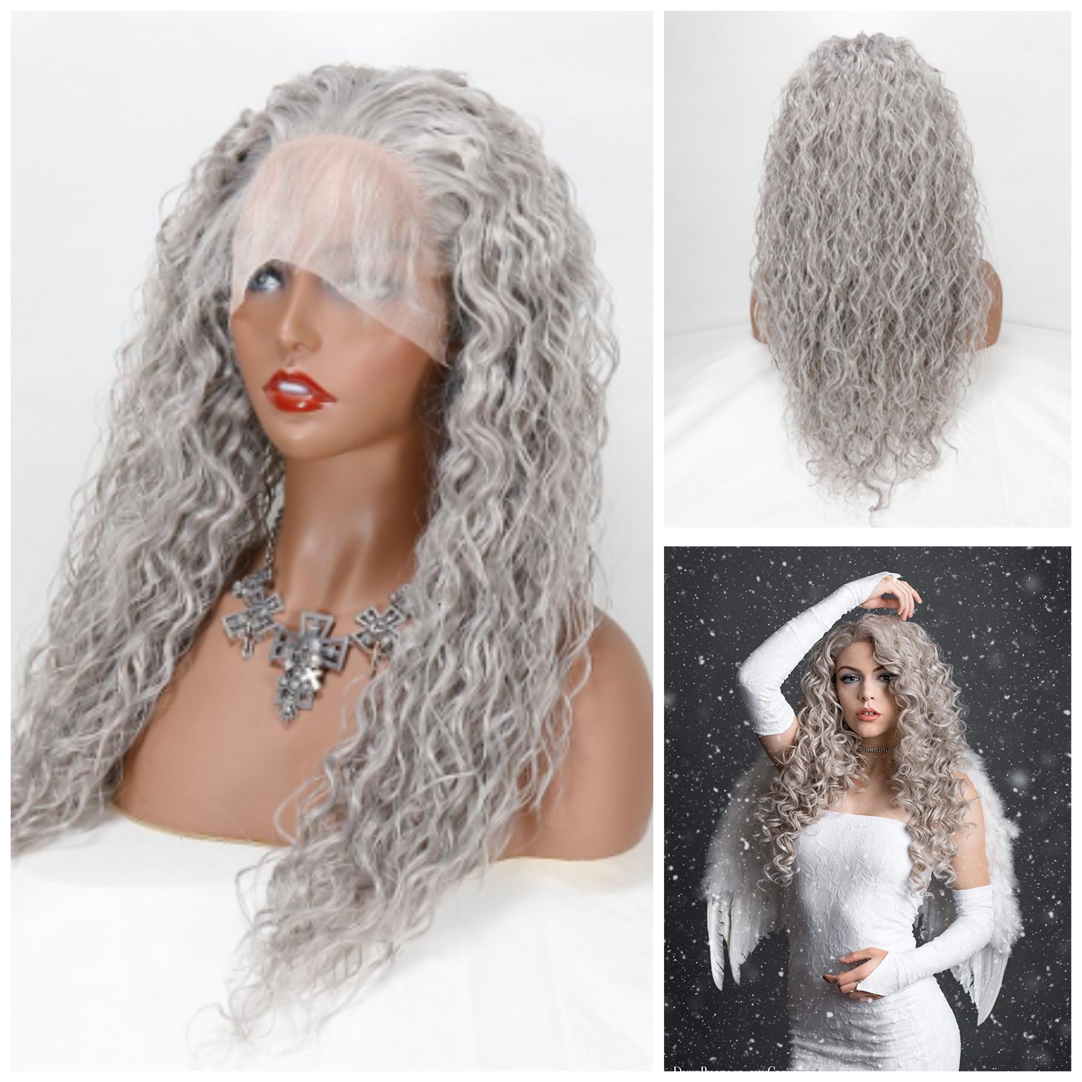 Loose Curly Gray Heat Resistant Fiber Silver Grey Synthetic 13×4Lace Front Wig For Women Replacement Wig With Baby Hair