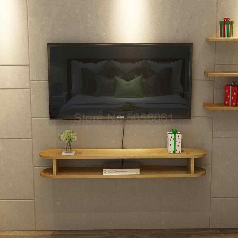 meuble tv mural minimaliste en bois massif petit appartement moderne pour salon