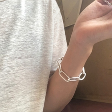 Silvology 925 Sterling Silver Big Circle Oval Chain Bracelets Industry Minimalist 2019 Womens Jewelry Gift