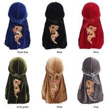 Hair-Caps Durag Dragon-Pattern Turban Headwrap Hair-Styling-Accessories Women Velvet