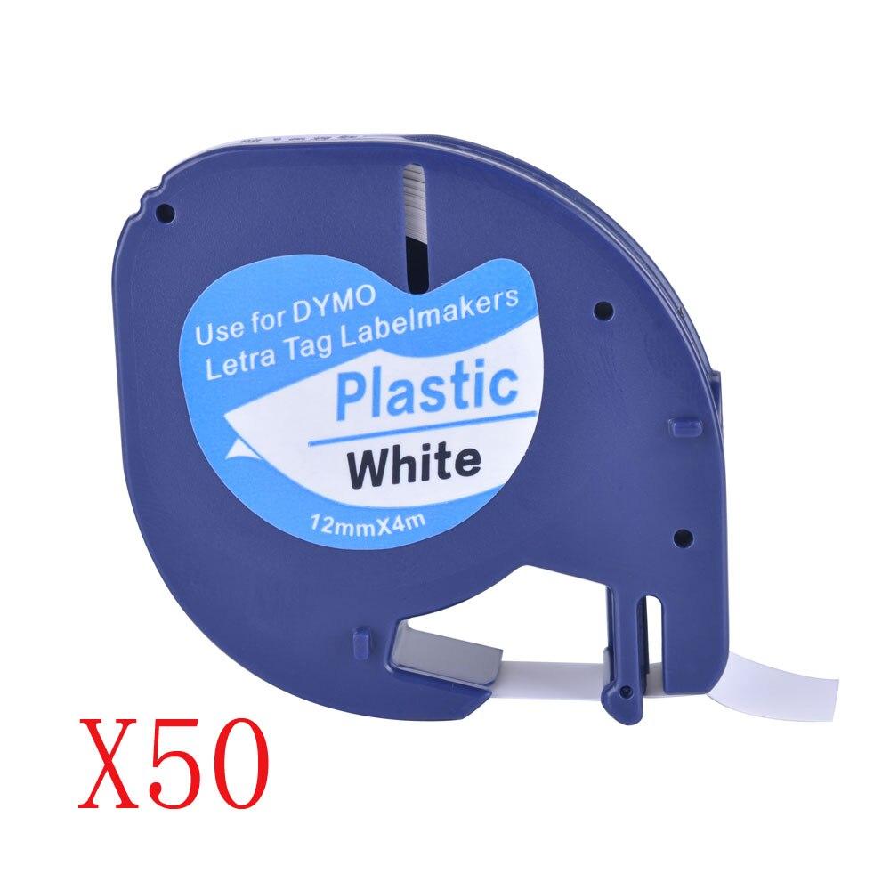 50 совместимых черных на белом (12 мм x 4 м) пластиковых лент этикеток для Dymo LetraTag QX 50, XR, XM, 2000, Plus производителей этикеток