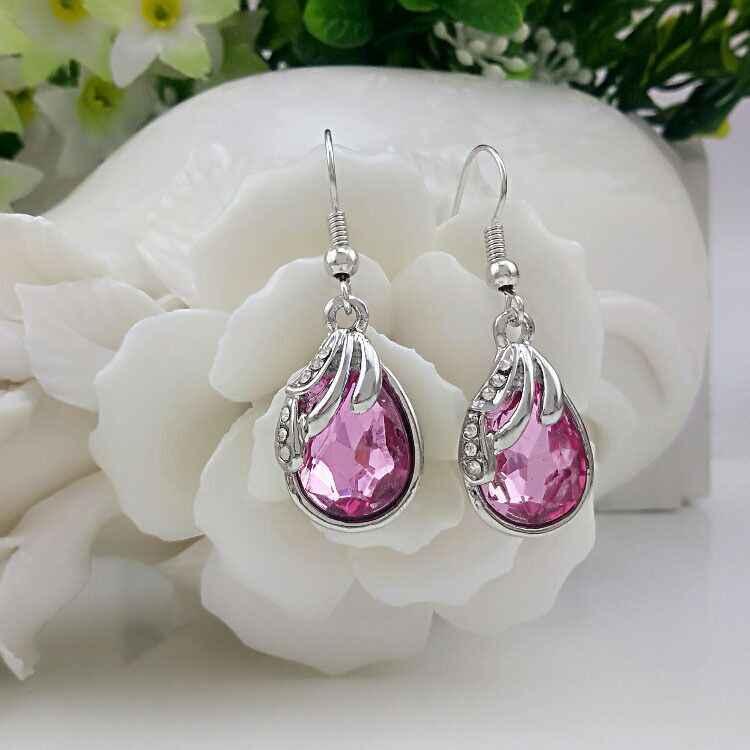 Delle donne 100% Multa 925 sterling silver trasparente classico orecchini di rosa sposa rosso regalo Di Natale E067