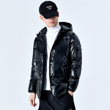 Jacket Men Coats Hooded Bright Winter Fashion Male Solid Cotton Warm