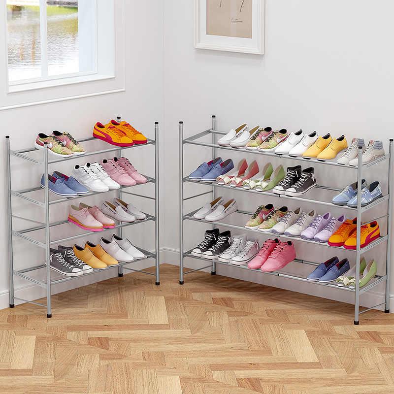 60 ~ 110 см телескопическая Этажерка для обуви стойка стальная трубка органайзер для хранения обуви полка стабильная подставка мебель для обувного шкафа