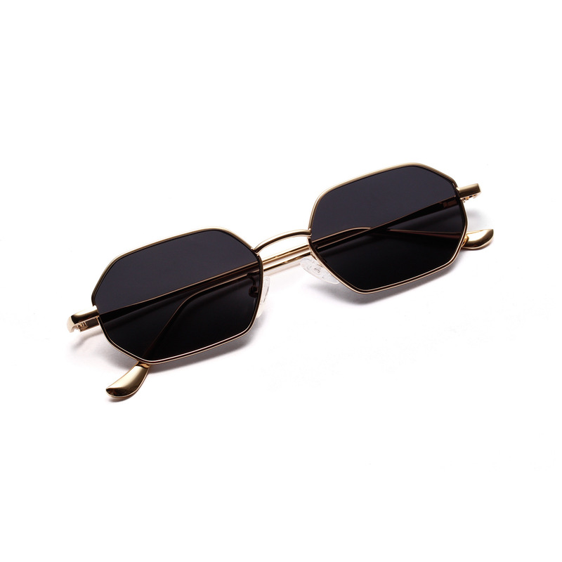 Women Retro Classic Small Polygon Sunglasses Men Women Luxury Vintage Black Mirrors Colour Transparent Lens Sun Glasses UV400