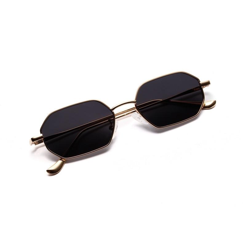 Women Retro Classic Small Polygon Sunglasses Men Women Luxury Vintage Black Mirrors Colour Transparent Lens Sun Glasses UV400