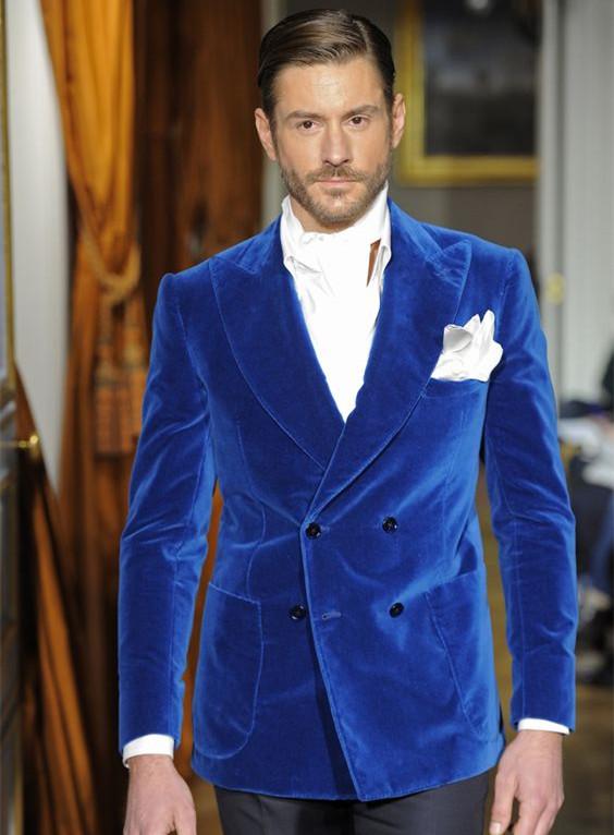711 Fashion Bespoke Men Suit Set For Wedding Prom Dinner (Jacket+Pants) Blue Velvet Mens Suits Groom Best Man Blazers Costume Homme