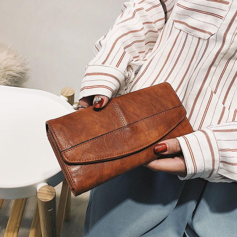 Vintage Trifold Wallet Women Long PU Leather Wallet Female Clutch Purse Hasp Female Phone Bag Girl Card Bags Ladies High Quality