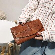 Vintage Trifold Wallet Women Long PU Leather Wallet