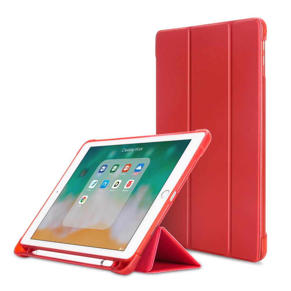 Red Gray For iPad 10 2 inch 7th Gen 2019 A2198 Case With Pencil Holder Slim Tri fold