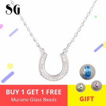 цена Sparkling CZ necklace 925 Sterling Silver horseshoe Pendant Necklaces for Women lovely Pendant Jewelry Silver Chain Collier онлайн в 2017 году