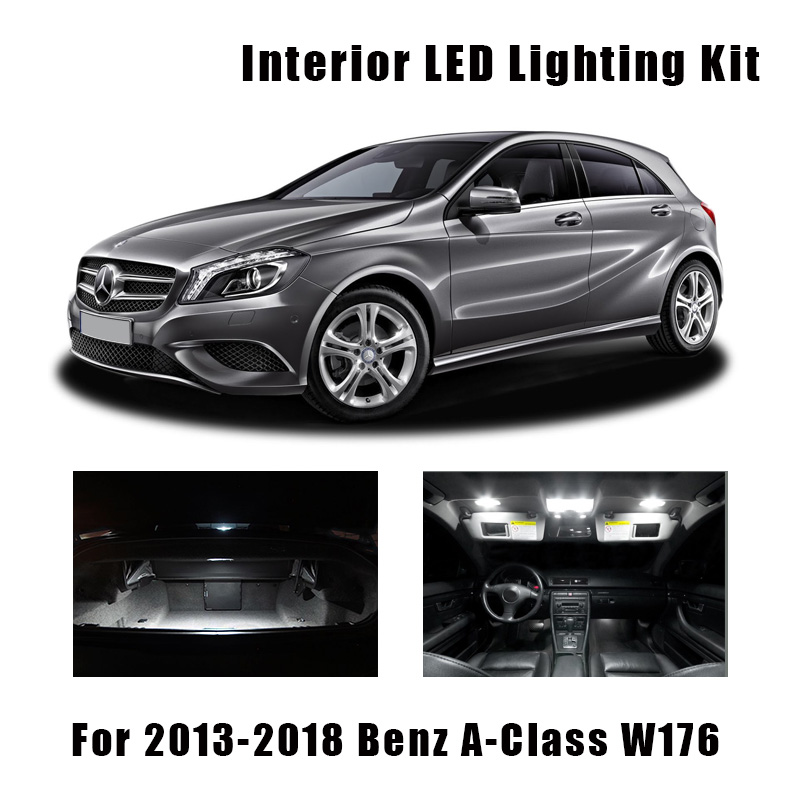 18pcs White Error Free LED Bulbs Interior Dome Map Light Kit For Mercedes-Benz A-Class W176 2013-2018 Trunk Door Footwell Lamp